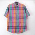 エディーバウアー マドラスチェック 半袖ボタンダウンシャツ(sale商品)