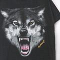 アニマルプリント #4 狼 ウルフ Tシャツ (古着) 【メール便可】